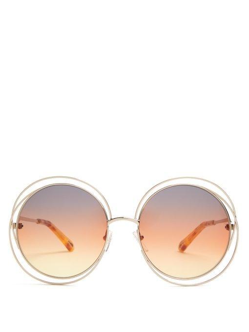 dbeb548beb00 CHLOÉ. Chloé - Carlina Round Frame Sunglasses - Womens - Brown Multi