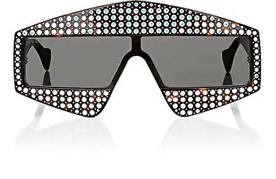 6dbe6c6b620f5 Gucci 99Mm Embellished Shield Sunglasses - Dark Havana  Crystal In Brown