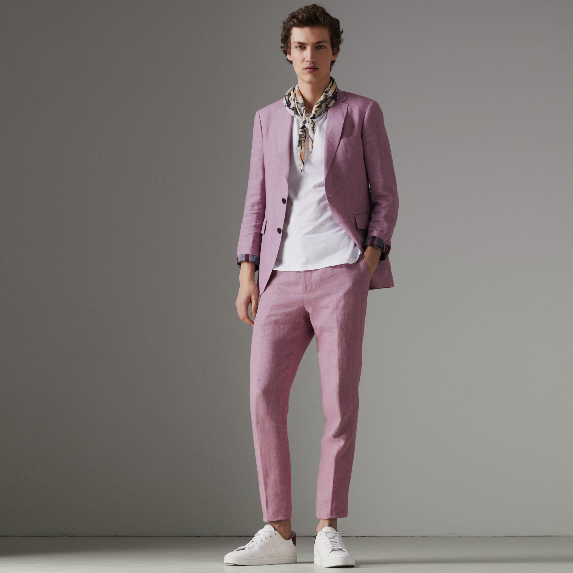 Burberry Soho Single-breasted Linen Jacket In Pink