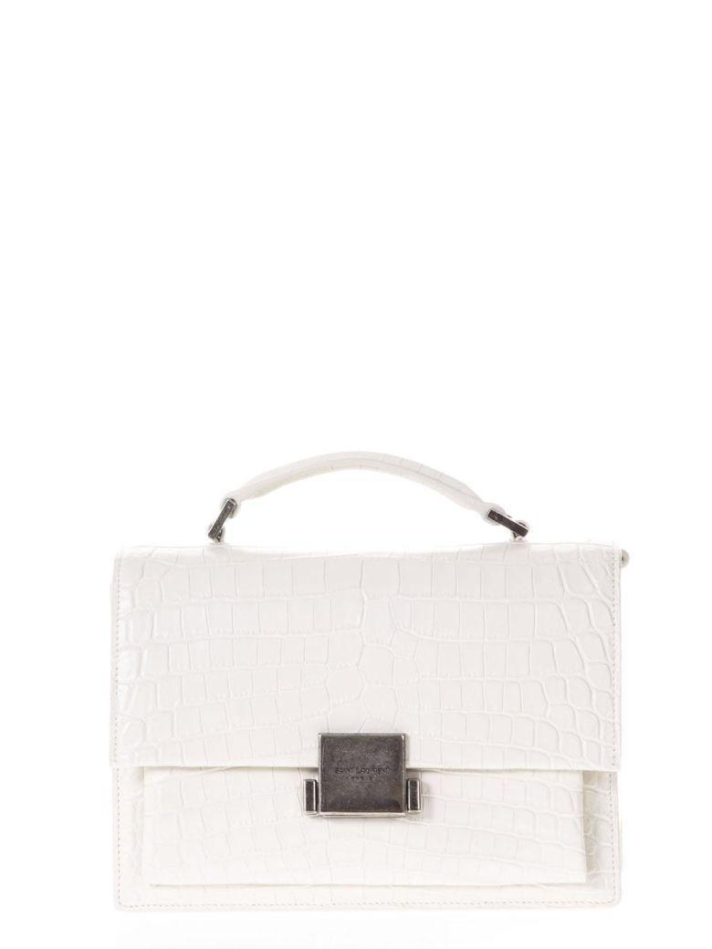 Saint Laurent White Medium Crocodile Leather Bag