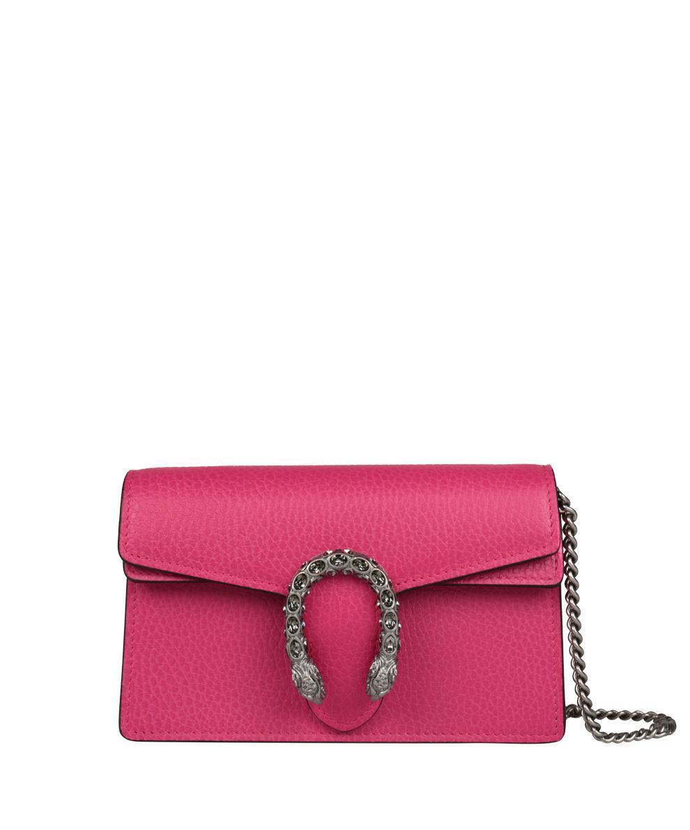 Gucci Dyonisus Leather Bag In Fucsia