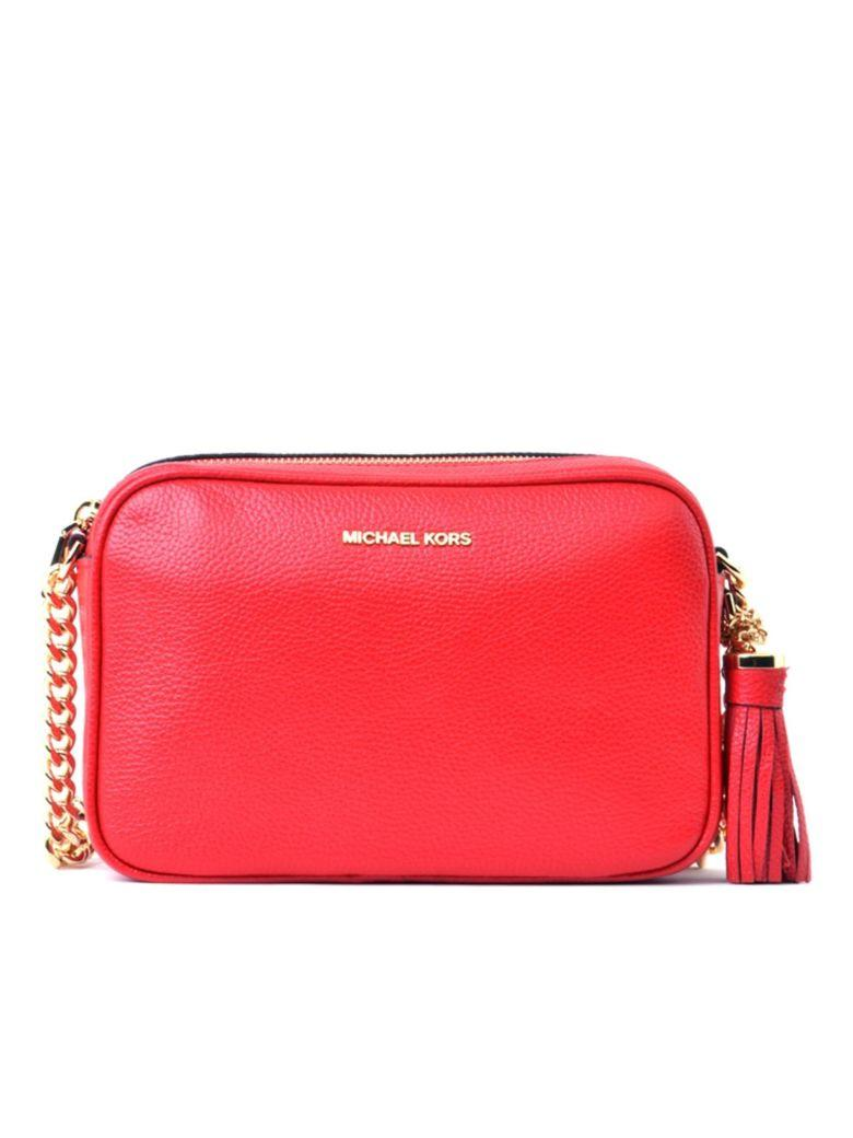 Michael Michael Kors Ginny Bag In Red Textured Leather