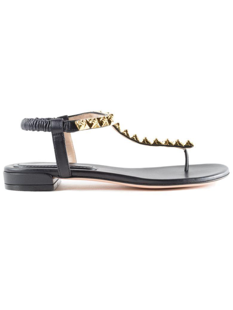 Stuart Weitzman Studded T-bar Sandals In Black