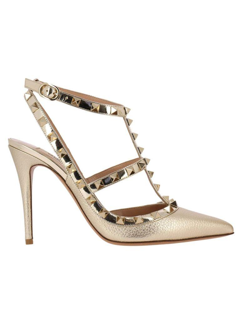 Valentino Garavani Pumps Valentino Rockstud Pumps With Ankle Atrap In Genuine Laminated Leather With Micro Metal Studs In Gold