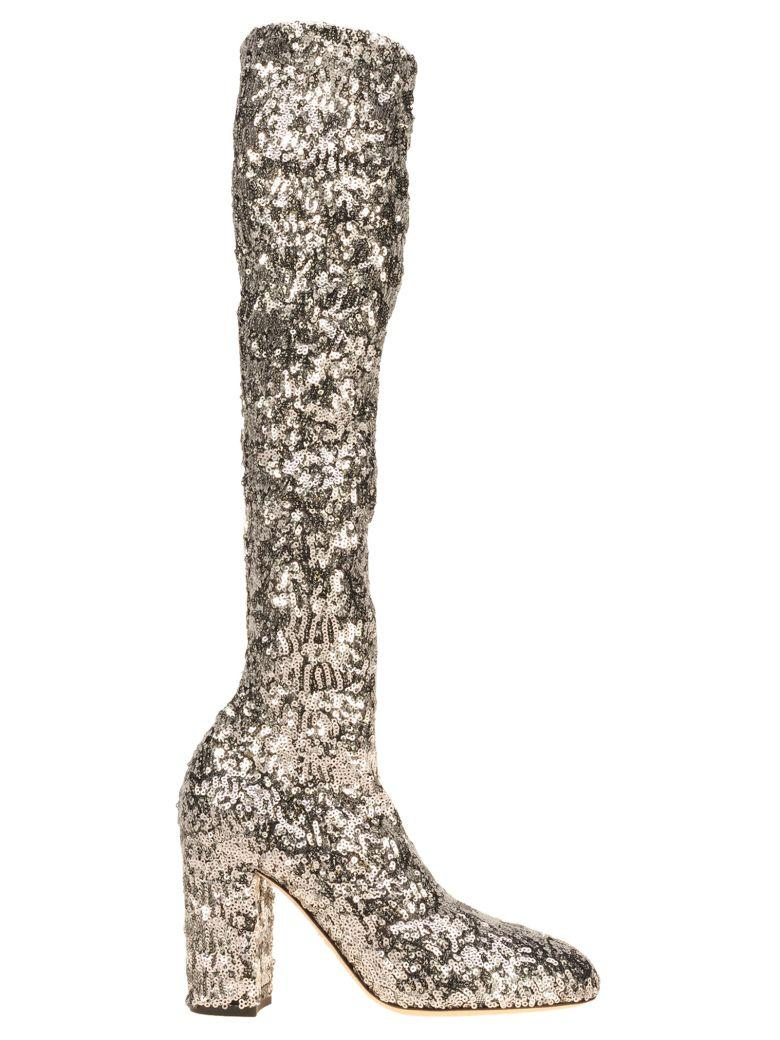 Dolce & Gabbana High Sequin Boot In Silver