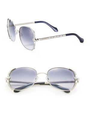 Roberto Cavalli 56mm Swarovski-embellished Metal Sunglasses In Blue Grey