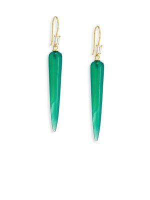 Ila Orson Diamond & Green Onyx Drop Earrings In Gold-green Onyx