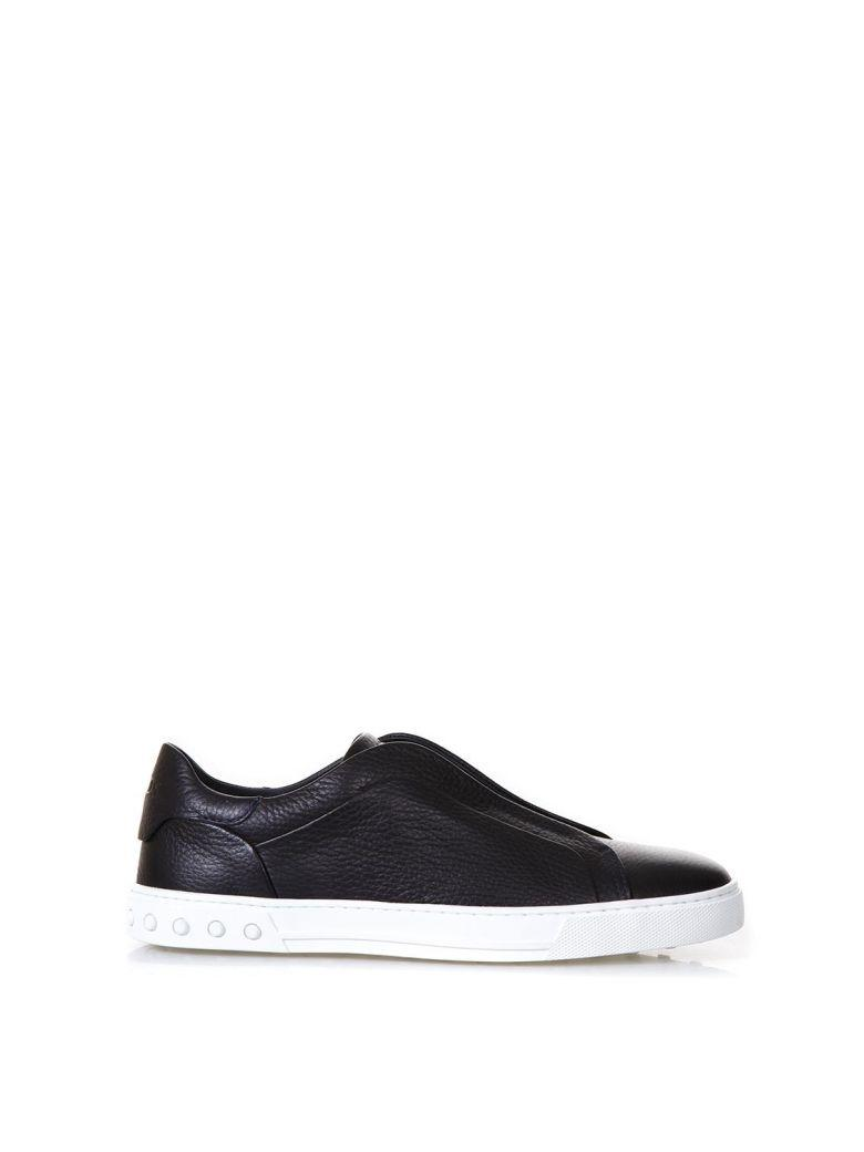 Tod's Black Slip On Shoes In Leather