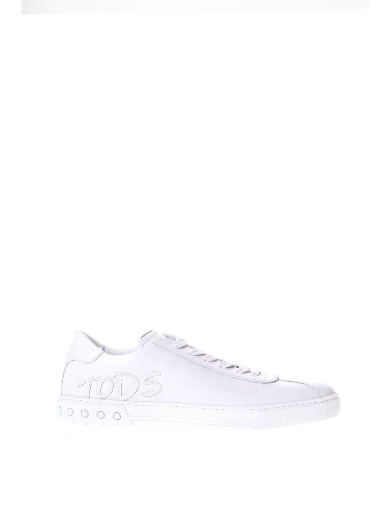 Tod's White Leather Sneakers With Logo