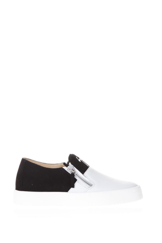 Giuseppe Zanotti Eve Double Slip On Sneakers In Leather In Black-white