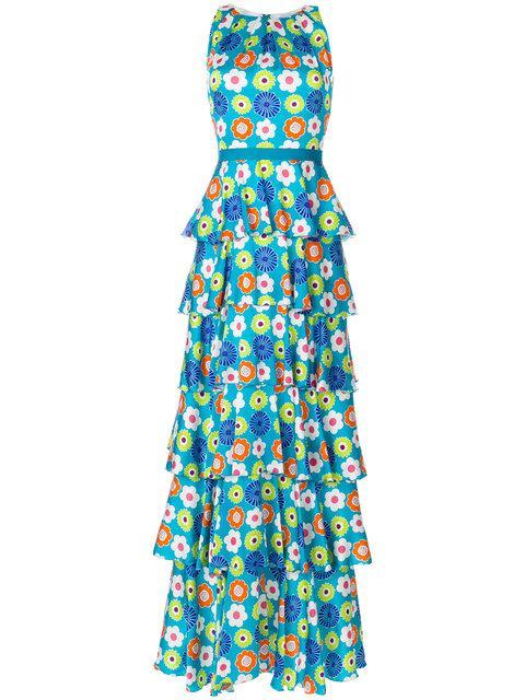 Talbot Runhof Monie3 Dress In Blue