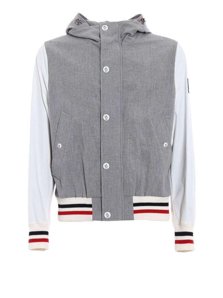 Moncler Gamme Bleu Zipped Seersucker Jacket In Grey