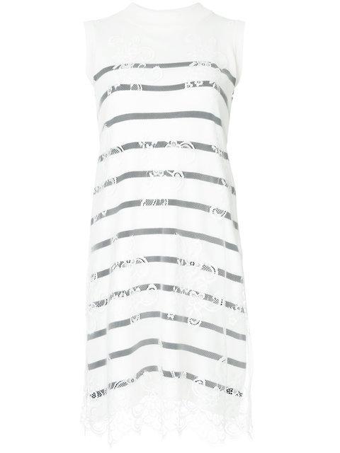 Loveless Striped Lace Detail Dress - White