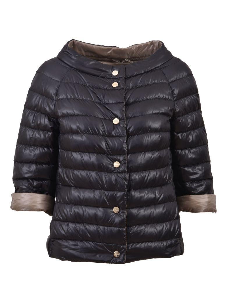Herno Down Jacket Black In Nero-tortora