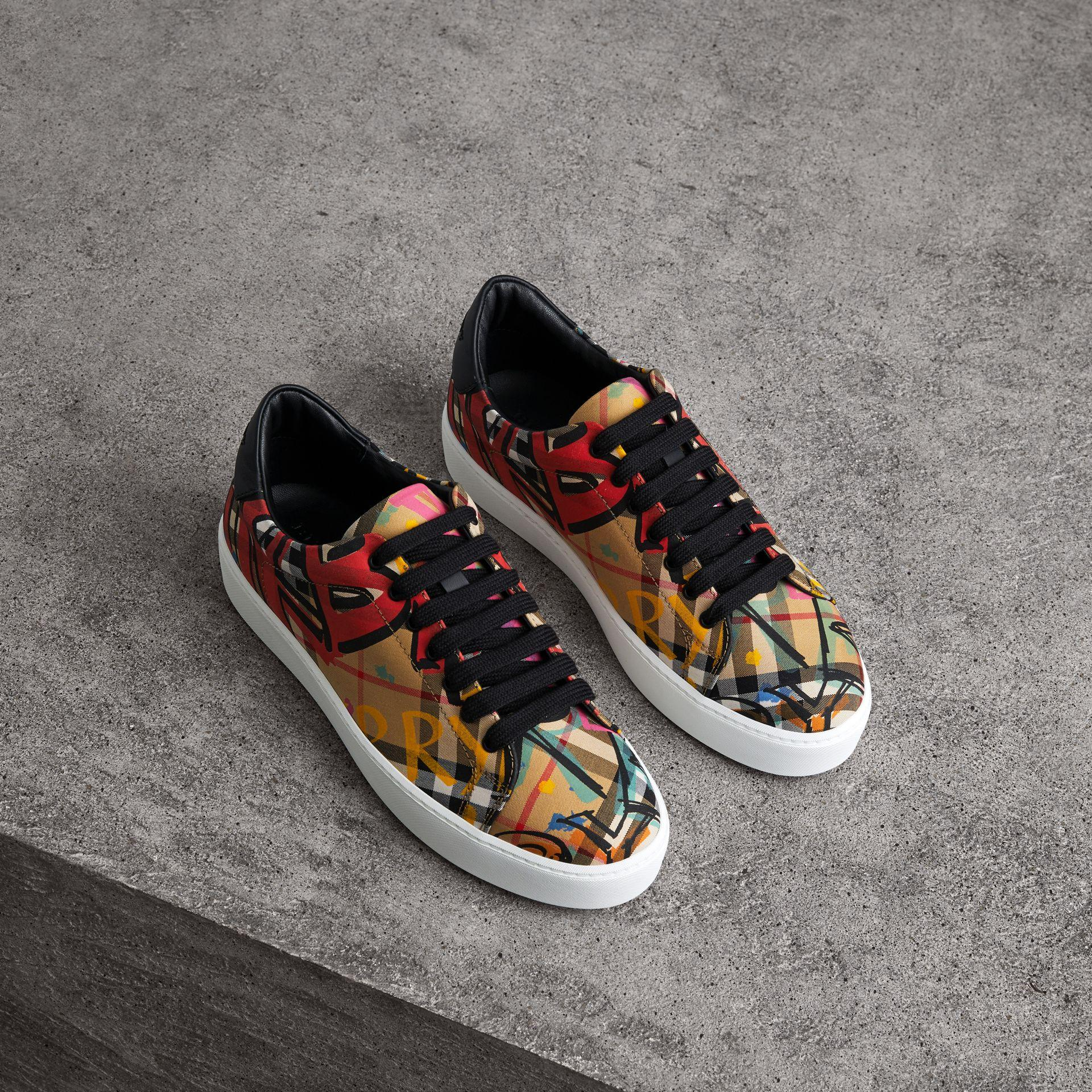 Burberry Women's Westford Graffiti Logo Print Vintage Check Lace Up Sneakers In Antique Yellow