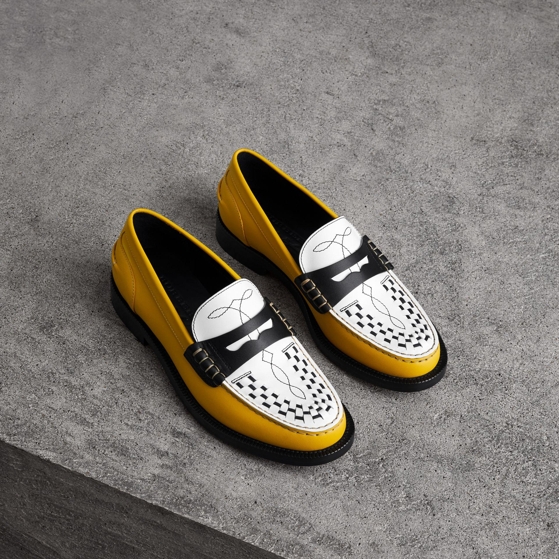 Burberry Woven-toe Leather Loafers In Saffron Yellow