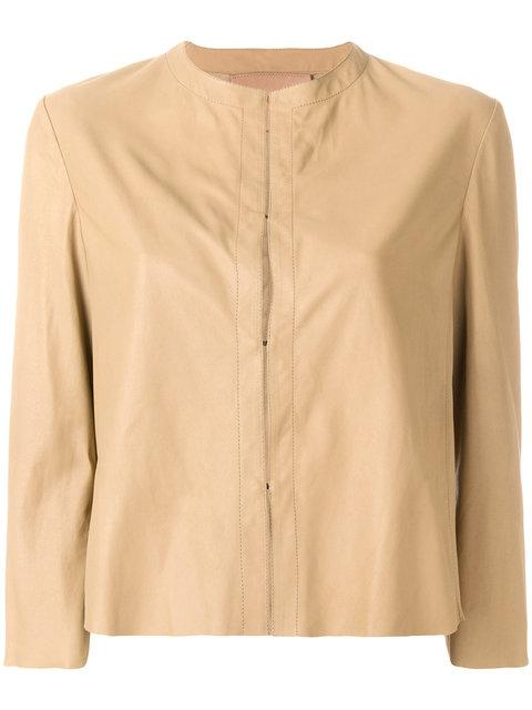 Drome Cropped Leather Jacket - Nude & Neutrals