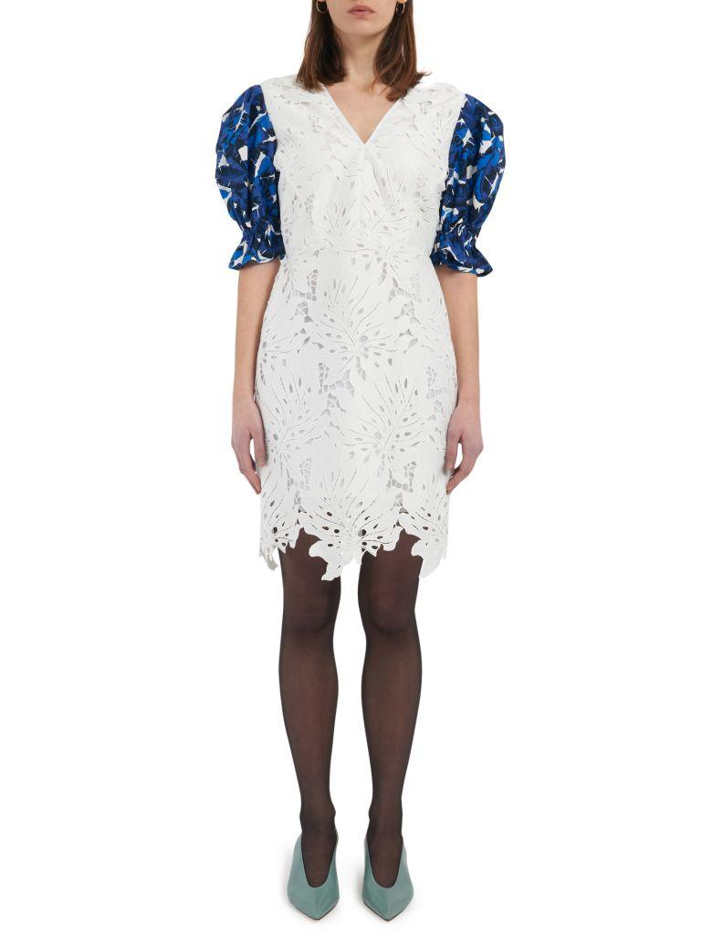 Msgm Embroidered Dress In White