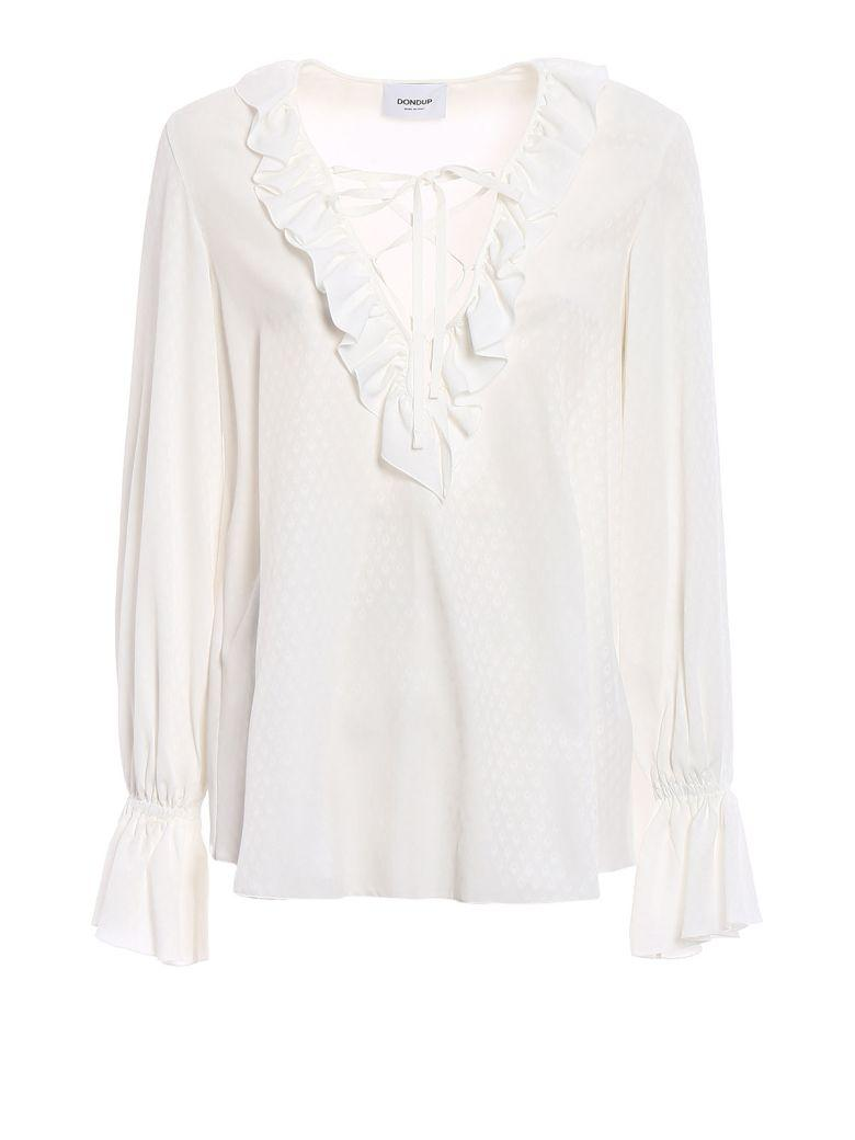 Dondup Ruffled Neck Blouse In White