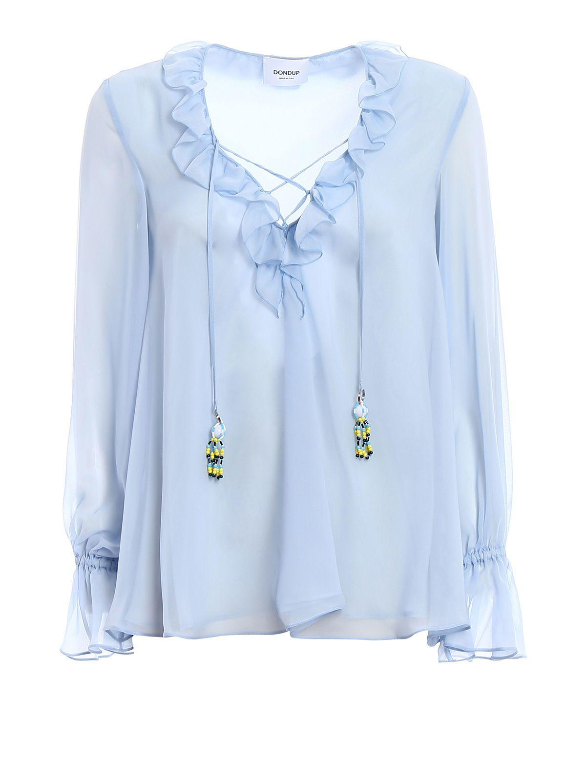 Dondup Shirt Voile In Light Blue