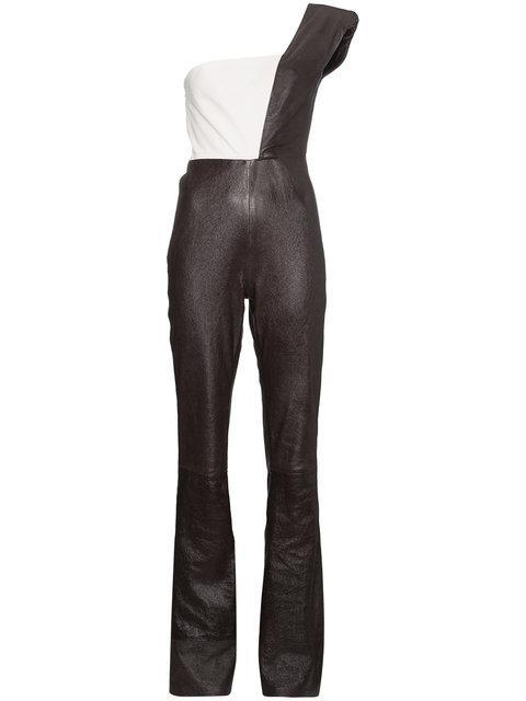 Skiim One Shoulder Leather Jumpsuit In Black