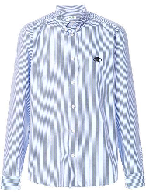 Kenzo Eye Button Down Shirt In Blue
