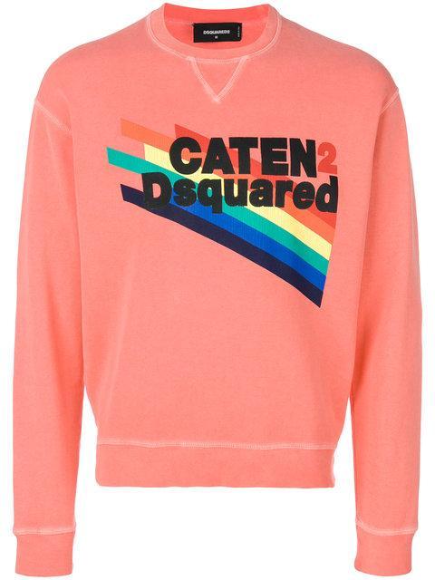 Dsquared2 Caten Rainbow Print Sweatshirt - Pink & Purple