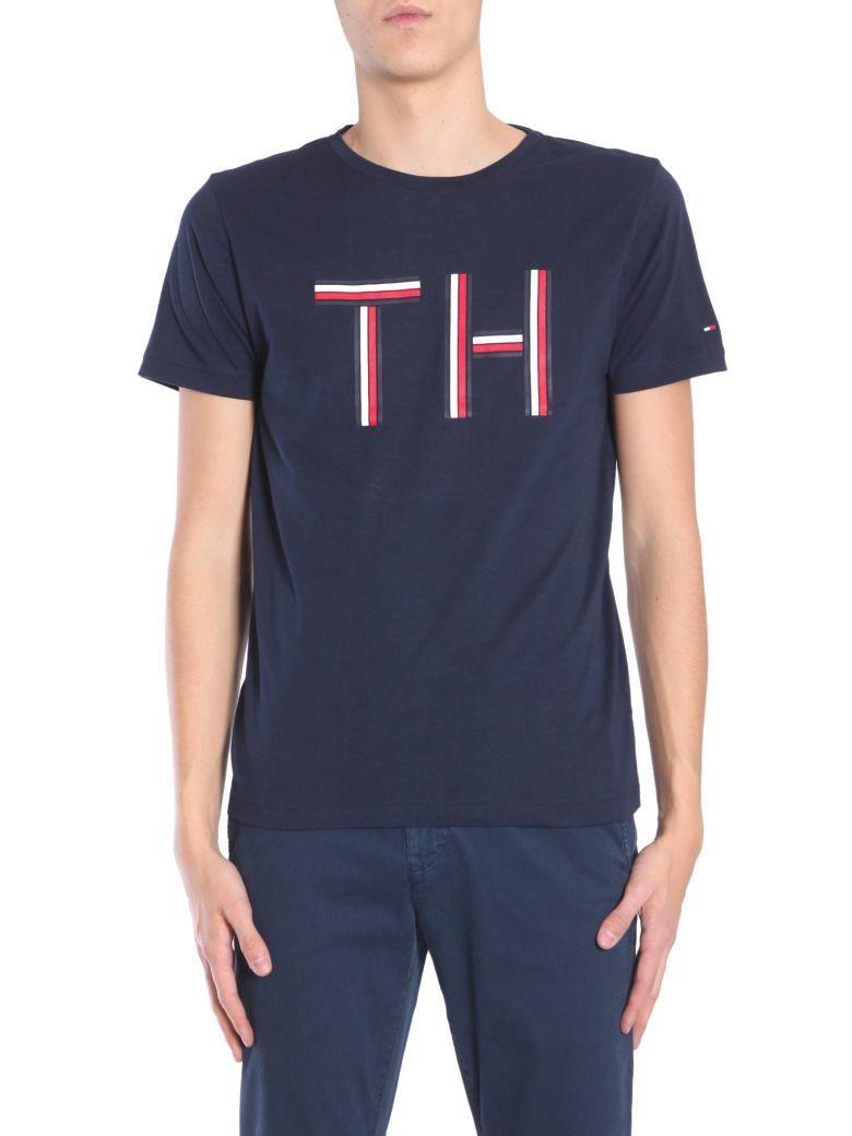 Tommy Hilfiger Round Collar T-shirt In Blu