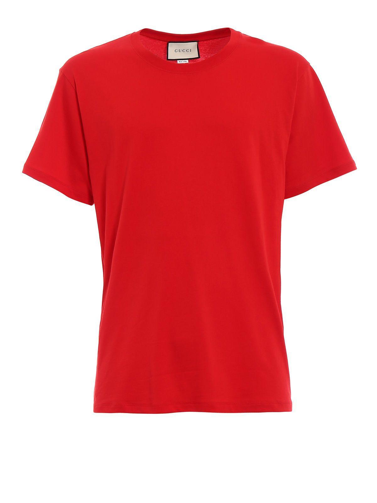 Gucci Logo Print T-shirt In Live Red-bluette