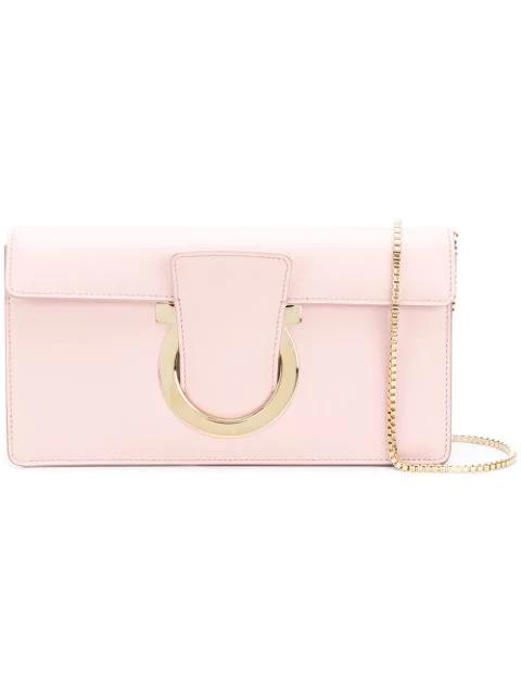 Salvatore Ferragamo Gancio Clutch Bag In Pink