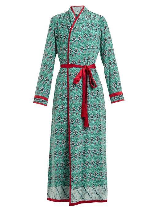 Talitha - Geometric Print Silk Crepe Robe - Womens - Green Print