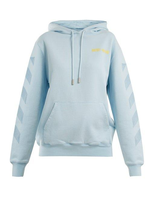 Off-white Embroidered Hooded Cotton Sweatshirt In Light Blue