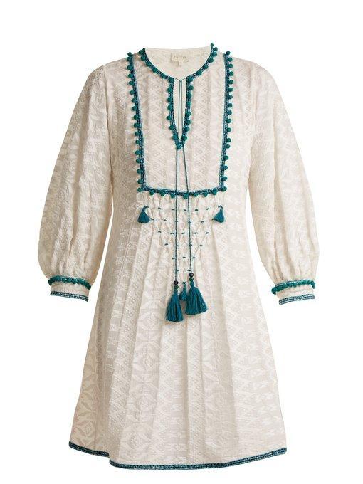 Talitha Ilaria Tassel-embellished Silk-blend Dress In White