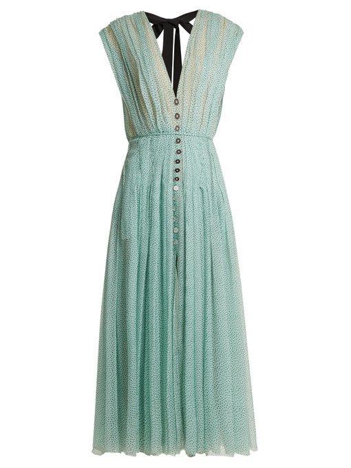 Carolina Herrera Polka-dot Print V-neck Silk-chiffon Dress In Green Print
