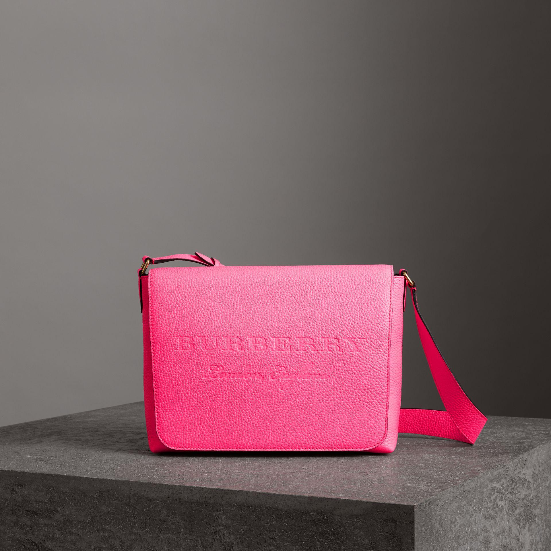 177c2887b053 Burberry Medium Embossed Leather Messenger Bag In Neon Pink