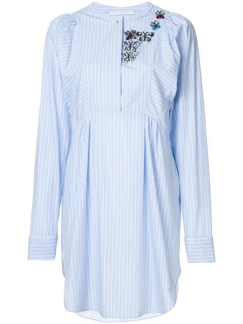 Ermanno Scervino Embellished Striped Dress - Blue