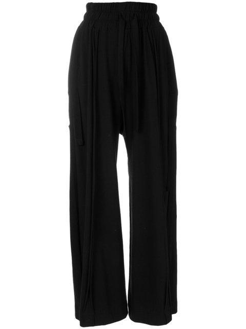 Barbara I Gongini Wide Leg Cropped Trousers In Black