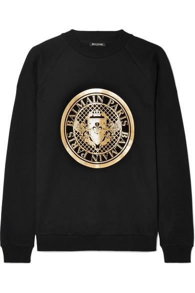 Balmain Printed Cotton-jersey Sweatshirt In Black