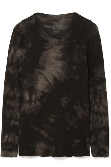 Atm Anthony Thomas Melillo Tie-dye Slub Cotton-jersey Top In Black
