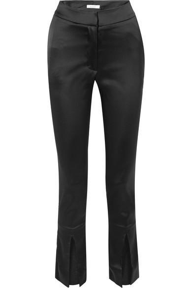Beaufille Lenae Satin Slim-leg Pants In Black
