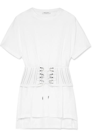 Mugler Lace-up Cotton-jersey Top In White
