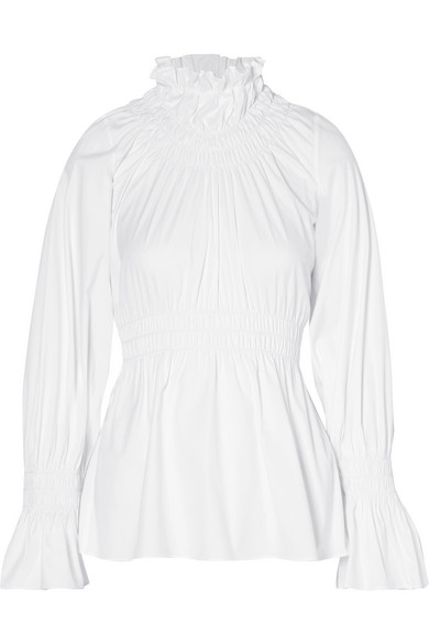 Beaufille Galileo Smocked Long-Sleeve Cotton Shirting Blouse In White