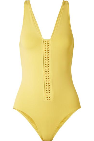 Eres Close Up Cassette Braid-trimmed Swimsuit In Yellow