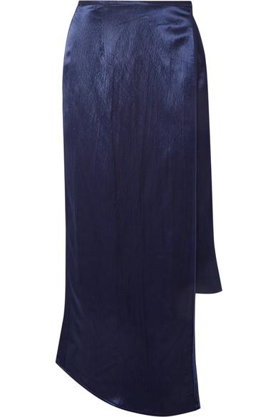 Sid Neigum Wrap-effect Hammered-satin Midi Skirt In Navy