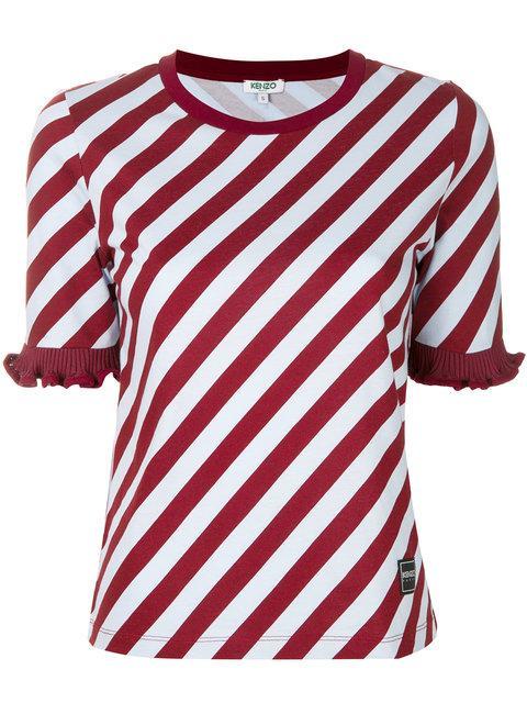 Kenzo Striped Ruffle Trim T-shirt - Blue