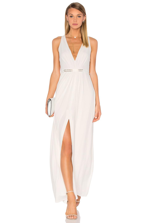 Halston Heritage V Neck Jesey Dress In Cream