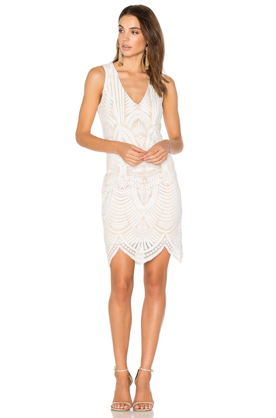 Bardot Embroidered Lace Dress In White