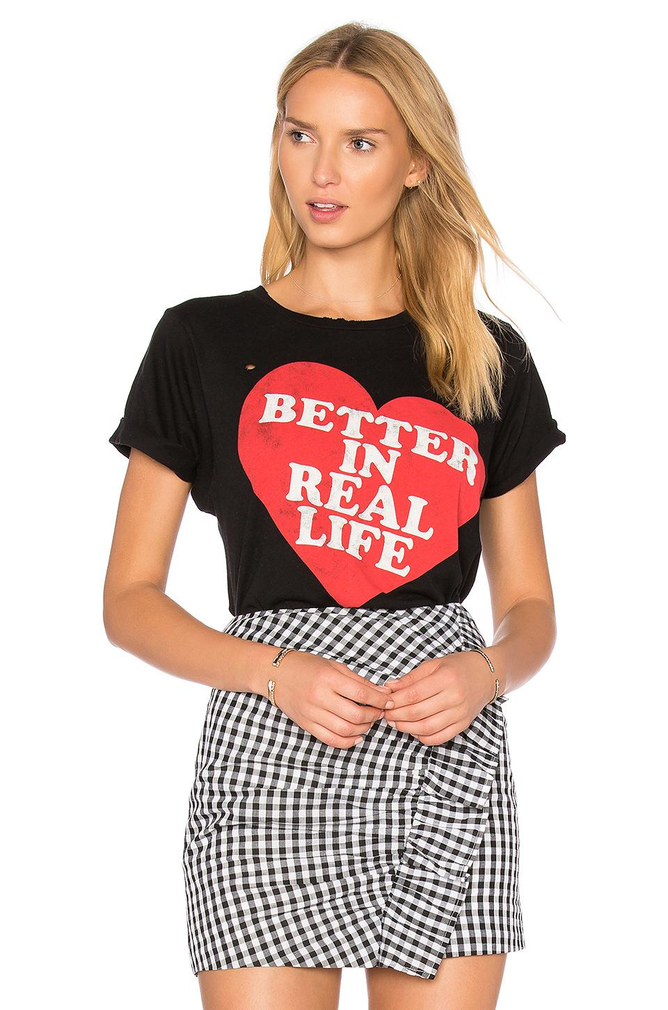 Wildfox Better In Real Life Tee In Black