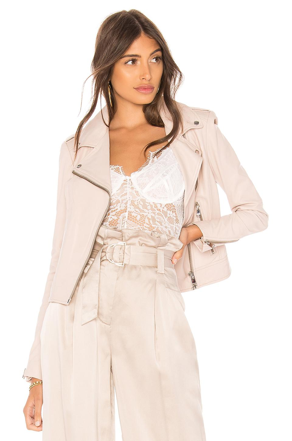 Lamarque Donna Leather Biker Jacket In Pink Tinged