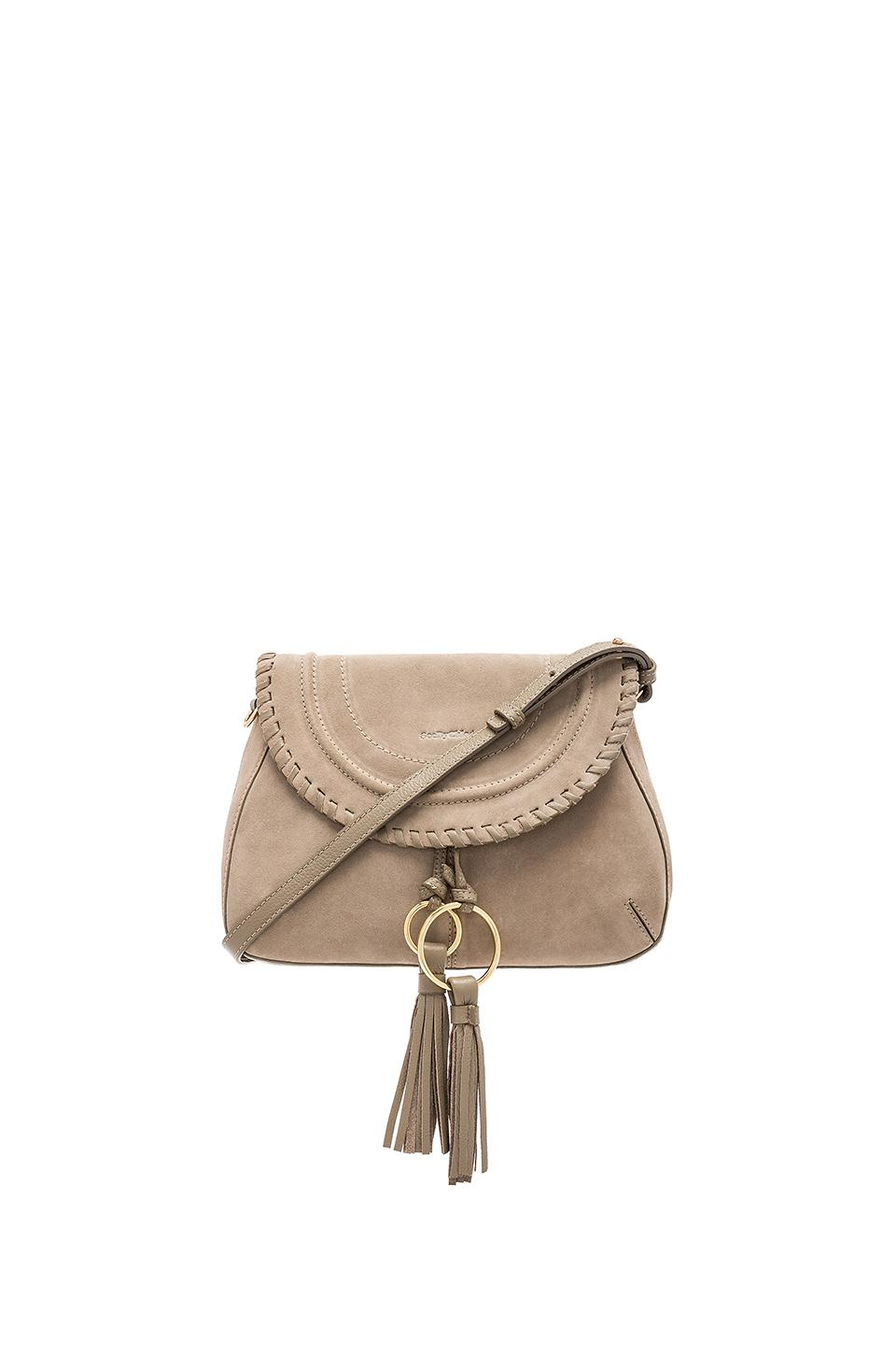 See By ChloÉ Polly Leather & Suede Shoulder Bag In Gray
